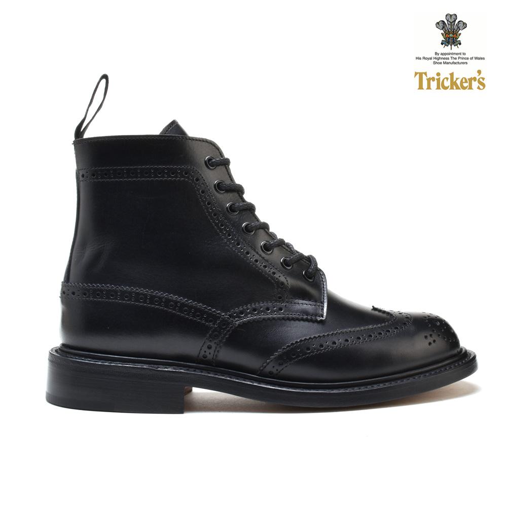 トリッカーズ カントリーブーツ ブラック ボックス カーフ ダブルレザーソール Tricker's COUNTRY BOOT Black Box Calf Double leather L5676 レディース ウィングチップ