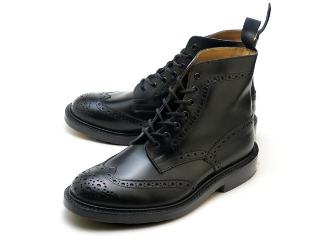 トリッカーズ カントリーブーツ モルトン ブラックボックス ウィングチップ メンズ ブーツ ダブルレザーソール Tricker's M2508 Malton Country Boot Black Box