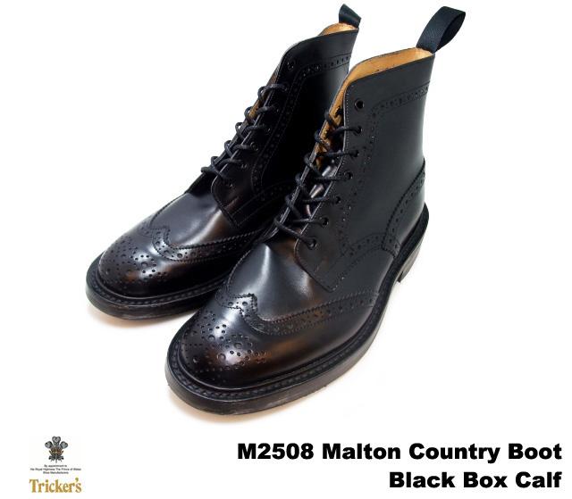 トリッカーズ カントリーブーツ ブラックボックスカーフ ウィングチップ メンズ ブーツ Tricker's M2508 Malton Country Boot Black Box Calf