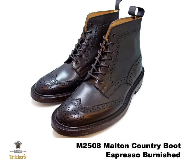 トリッカーズ カントリーブーツ エスプレッソバーニッシュ ウィングチップ メンズ ブーツ Tricker's M2508 Malton Country Boot Espresso Burnished