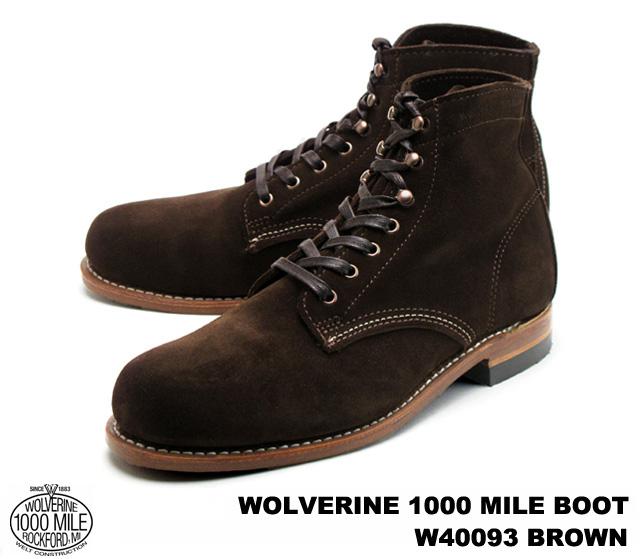 ウルヴァリン 1000マイルブーツ ブラウン スエード メンズ ブーツ ウルバリン WOLVERINE 1000 MILE BOOT W40093 Brown Suede MADE IN USA