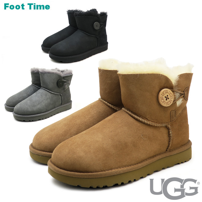 65e554a4e5d アグミニベイリーボタン II UGG MINI BAILEY BUTTON II gray / Chesnutt / black  GREY/CHESTNUT/BLACK 1016422 3COLORS Lady's mouton boots ...