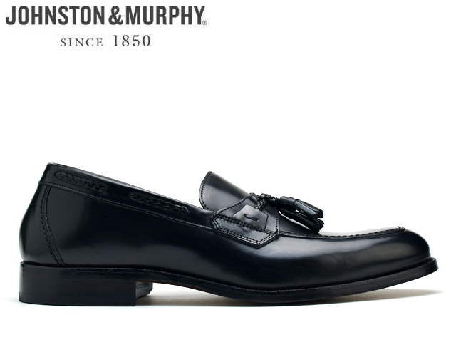 ジョンストン&マーフィー タッセル ローファー JOHNSTON&MURPHY TASSEL LOAFER ブラック BLACK タッセル ローファー スリッポン カーフレザー Eワイズ メンズ シューズ ビジネス ドレス 靴
