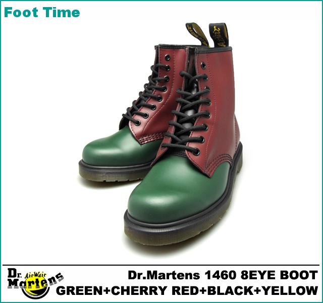 绿色博士马丁8礼堂长筒皮靴/红/黄色Dr.MARTENS 1460 8EYE BOOT GREEN+CHERRY RED+BLACK+YELLOW 16173310长筒皮靴三色旗男子女子男女两用抵达以后是评论的约定