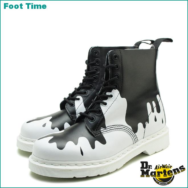 Dr. Martens core print Pascal 8 hole boots Dr.MARTENS CORE PRINT PASCAL 8  EYE BOOT black / white BLACK/WHITE 21091009 mens Womens unisex boots