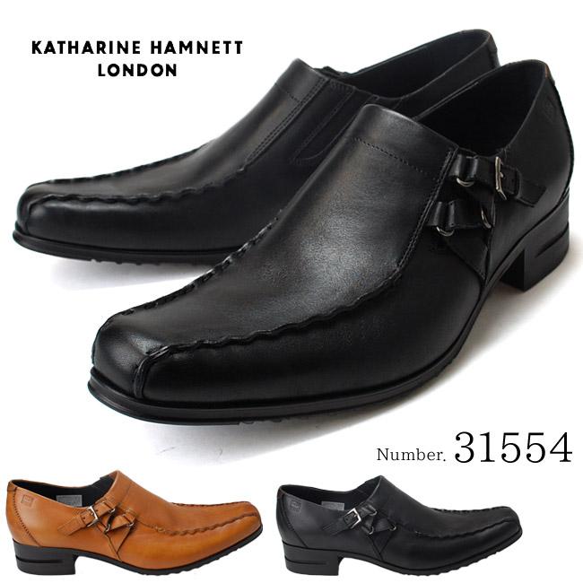 キャサリンハムネット KATHARINE HAMNETT 31554 メンズビジネスシューズ 靴 紳士靴 サイドストラップ スリッポン (1709)(E)