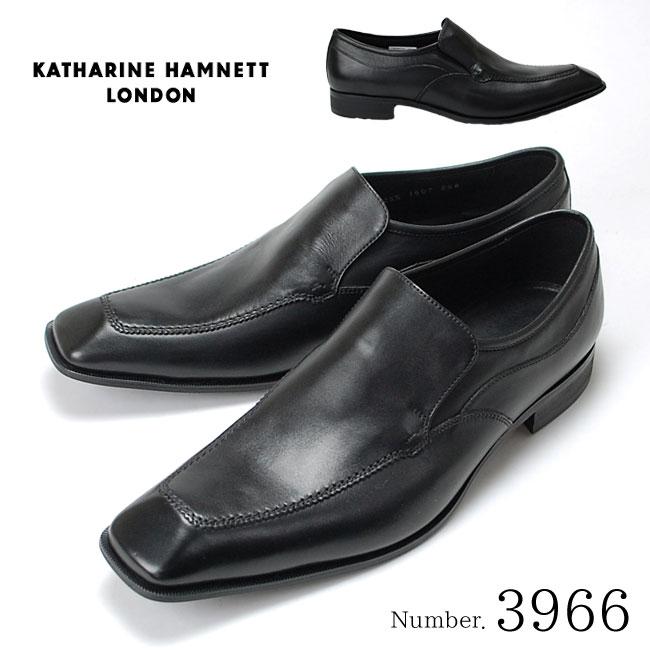キャサリンハムネット KATHARINE HAMNETT 3966 靴 紳士靴 メンズビジネスシューズ スリッポン ブラック 24.5cm~27.0cm 紳士靴 本革 成人式 就活 リクルート 就職