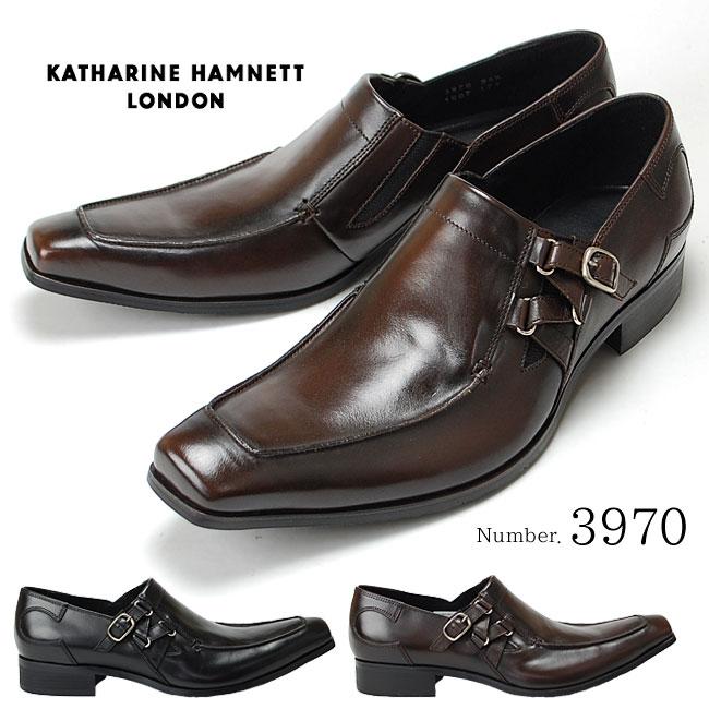 キャサリンハムネット KATHARINE HAMNETT 3970 靴 紳士靴 メンズビジネスシューズ サイドストラップ スリッポン ブラック ダークブラウン 24.5cm~27.0cm 紳士靴 本革 成人式 就活 リクルート 就職