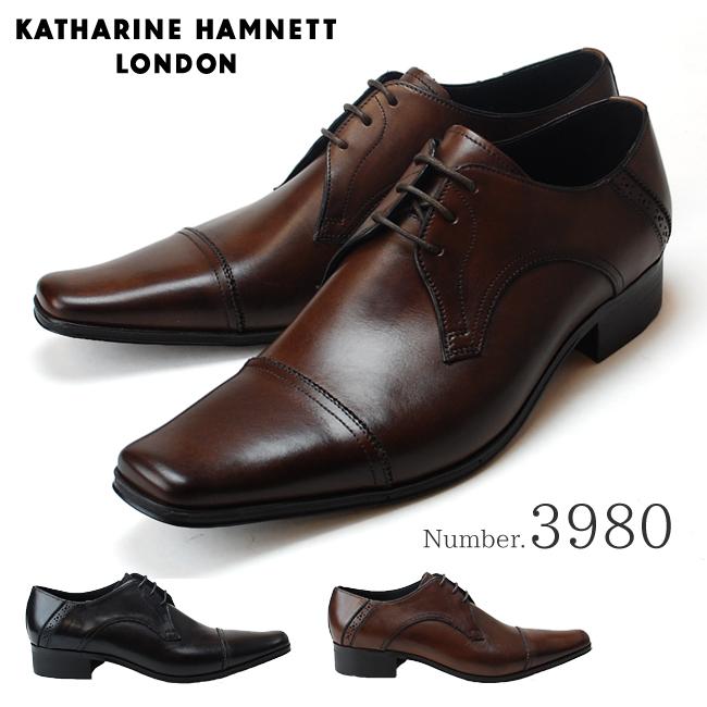キャサリンハムネット KATHARINE HAMNETT 3980 靴 紳士靴 メンズビジネスシューズ 外羽根 ストレートチップ ブラック ダークブラウン 24.5cm~27.0cm 紳士靴 本革 成人式 就活 リクルート 就職(1710)(E)