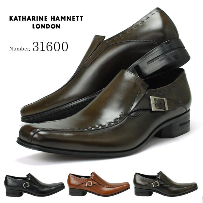 キャサリンハムネット KATHARINE HAMNETT 31600 靴 紳士靴 メンズビジネスシューズ スワールモカ スリッポン ブラック グレー ブラウン 24.5cm~28.0cm 紳士靴 本革 成人式 就活 リクルート 就職