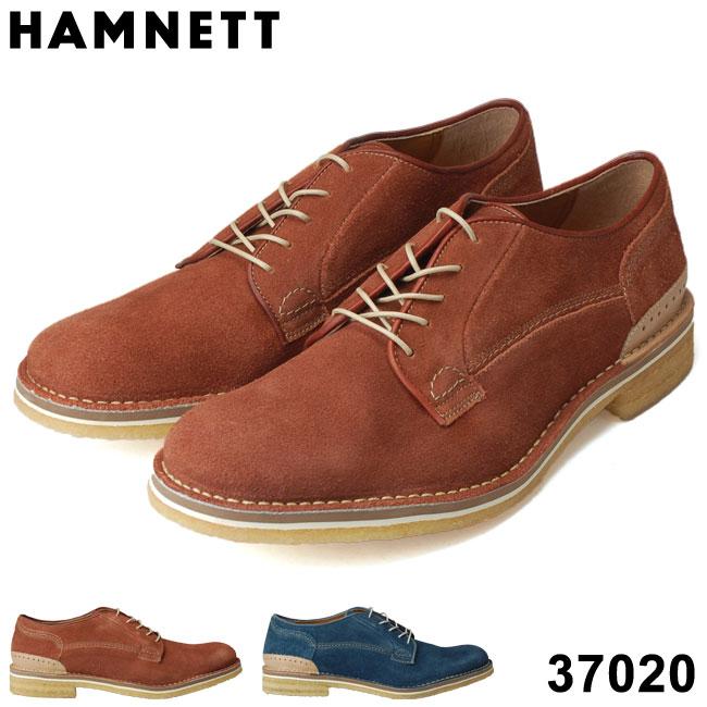 【送料無料】ハムネット 37020 カジュアルシューズ HAMNETT 本革 スエード ブラウン ネイビー 外羽根 プレーントゥ 紳士靴 (1809)(E)(北海道・沖縄は追加送料がかかります)