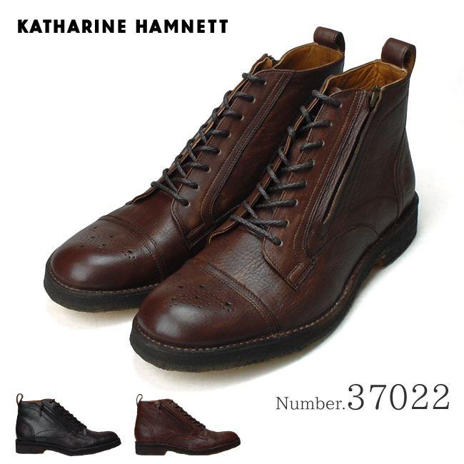 【送料無料】 キャサリン ハムネット 37022 カジュアルメンズブーツ KATHARINE HAMNETT ブラック ダークブラウン サイドファスナー ステッチダウン製法 紳士靴 [北海道、沖縄は別途送料が必要です] (1810)(E)