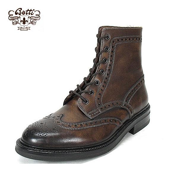 意大利制鞋BOTTI保迪乡村长筒靴翅膀小费长筒靴人翼梢长筒靴意大利制造603暗褐色BOOTS