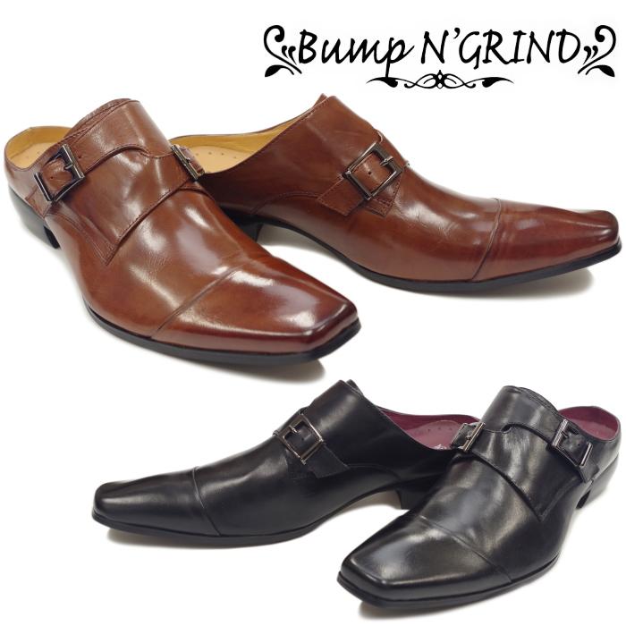 Bump N' GRIND バンプアンドグラインド BG 6048 ダブルモンクストラップ ビジネスシューズ 革靴 ビジネスサンダル メンズ スリッポン カジュアル かかと無し 送料無料 【コンビニ受取対応】