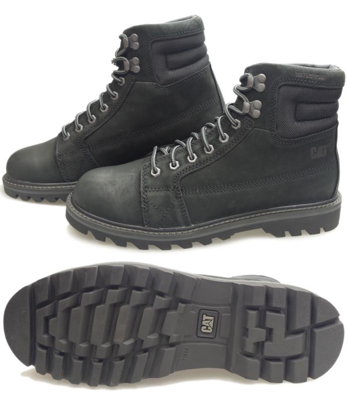 Caterpillar Caterpiller Cat Overpass Wp Tx P722779 Black Race Up Boots Men Boots Genuine Leather Lineman Boots Work Boots