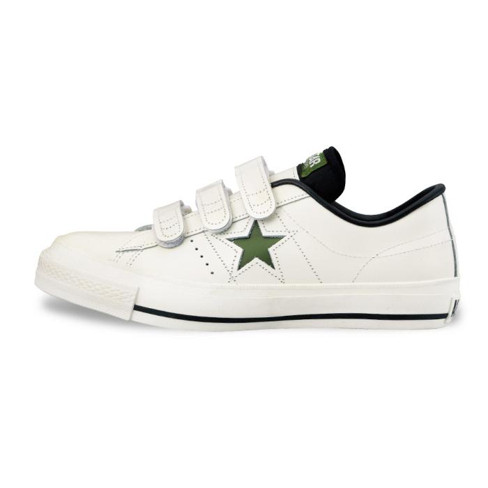 供匡威一明星皮革CONVERSE ONE STAR J V-3[白/绿色]日本制造人运动鞋低切男性使用的men's sneaker