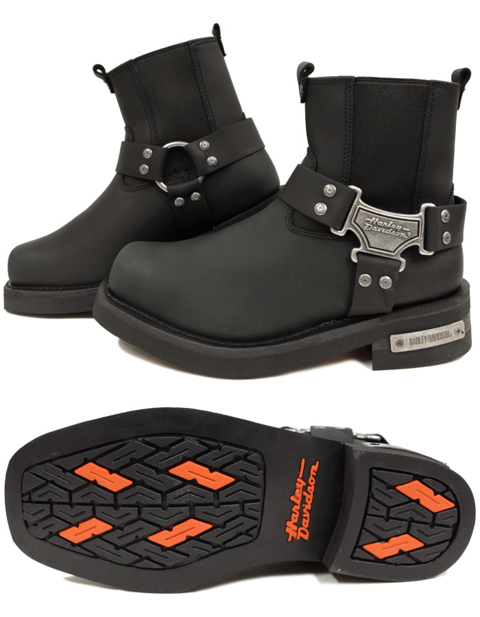 9104a0ec741 Engineer Harley-Davidson boots regular article Harley Davidson D91335  [black] MEGA HARNESS LO side Gore bikie motorcycle work boots men
