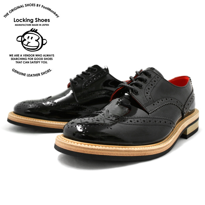 d8b69efadf1dc Locking Shoes WINGTIP SHOES 918 Black carving By FootMonkey Made in Japan  WINGTIP SHOES Patent leather shoes footmonkey British style shoes Men's ...