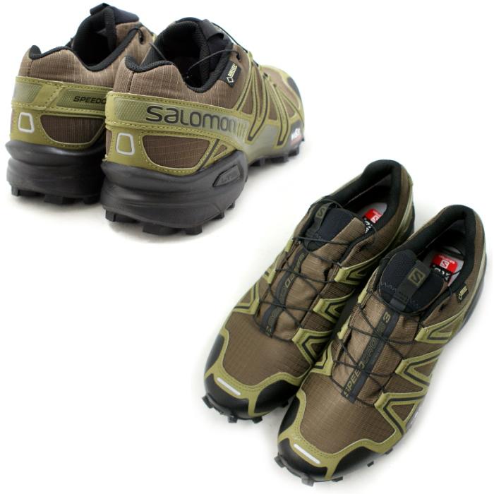 Salomon 小径跑步鞋所罗门 SPEEDCROSS 3 GTX 373323 [深卡其色/黑色/瓜纳绿色] 速度交叉戈尔特斯男士男装男士 ★