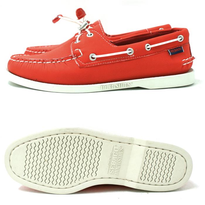 供sebagodekkishuzu SEBAGO人DOGSIDES船坞旁边[B720141红氯丁橡胶]dekkishuzu men's男性使用的鞋2015SS