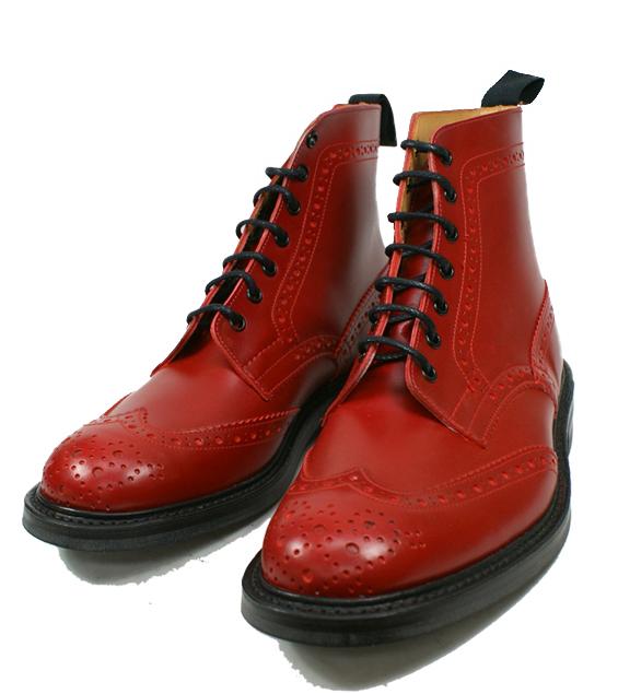 正規品 トリッカーズ カントリーブーツ Tricker's ウイングチップブーツ 【Style:M2508(レッド ダイナイト)フィッティング:5】送料無料 英国靴 革 レザー 靴 カントリーブーツ モルトン Malton 【あす楽対応】【コンビニ受取対応】