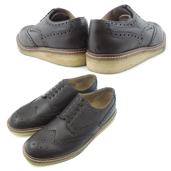 ≪函售≪时间供男子男子购物马拉松限定≫翅膀小费鞋沃尔鞋底WALLSALLウォルソールWING TIP SHOES 7072A [棕色]男性使用的men's shoes促销≫