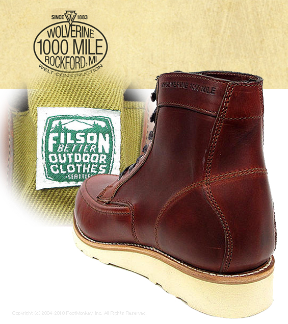 f3008f8e32c ●● The WOLVERINE [Wolverene] 1000 Mile boots Leather Wedge Boot Emerson  last (Style::W00283 Wise ::D) -Regular article Ho Win moccasins mock toe ...
