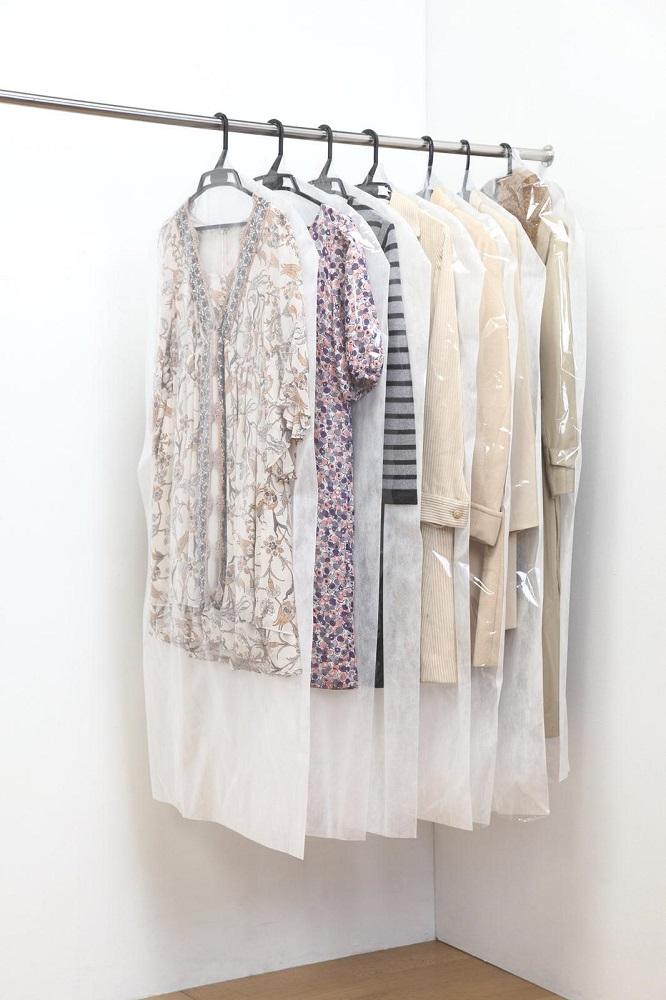 日本製 洋服カバー 100枚セット ロングサイズ 衣装カバー 衣類カバー 不織布 フォーラル 送料無料 ポイント10倍