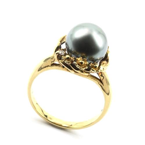 K18 ダイヤ 黒真珠(パール) 宝石リング#12〔 天然石 パワーストーン アクセサリー 〕