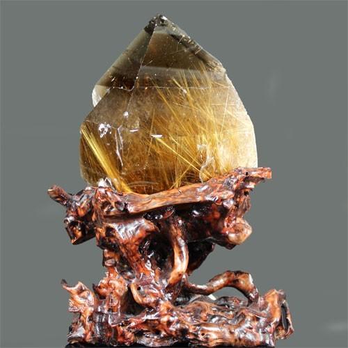 天然石 高品質 タイチンルチルクォーツ ポイント 原石置物 約4750g〔 天然石 パワーストーン アクセサリー 〕