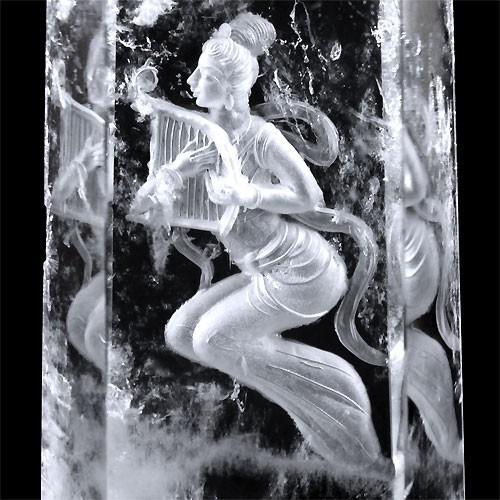 天然水晶裏彫りインタリオ 天女 ポイント 置物 天然石 〔 天然石 パワーストーン アクセサリー 〕