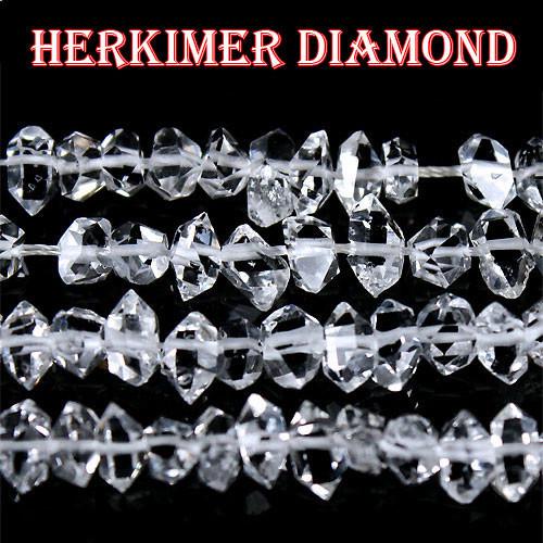 天然石【一連】高品質超透明 ニューヨーク産 ハーキマーダイヤモンド結晶 天然石(L)〔 天然石 パワーストーン アクセサリー 〕