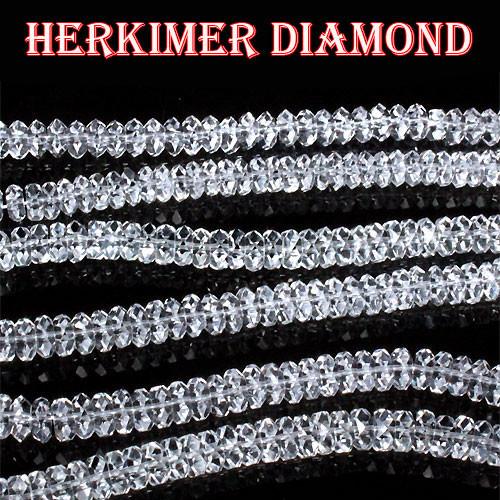 天然石【一連】ニューヨーク産 ハーキマーダイヤモンドAAA ボタンカット〔 天然石 パワーストーン アクセサリー 〕