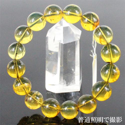 ドミニカ産 幻のブルーアンバー 琥珀 ブレスレット 約14mm〔 天然石 パワーストーン アクセサリー 〕