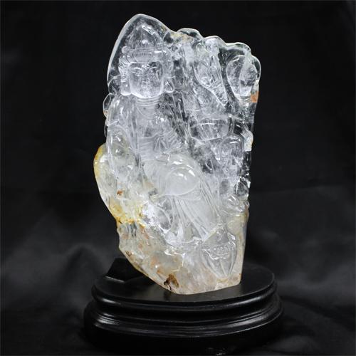 天然水晶 観音 彫刻 置物〔 天然石 パワーストーン アクセサリー 〕