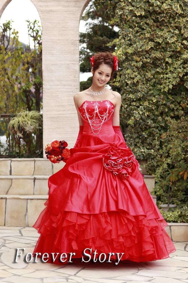 3c8ad9ea34752 カラードレス,パーティドレス,ウエディングドレス,ウェディング,赤,Aライン,