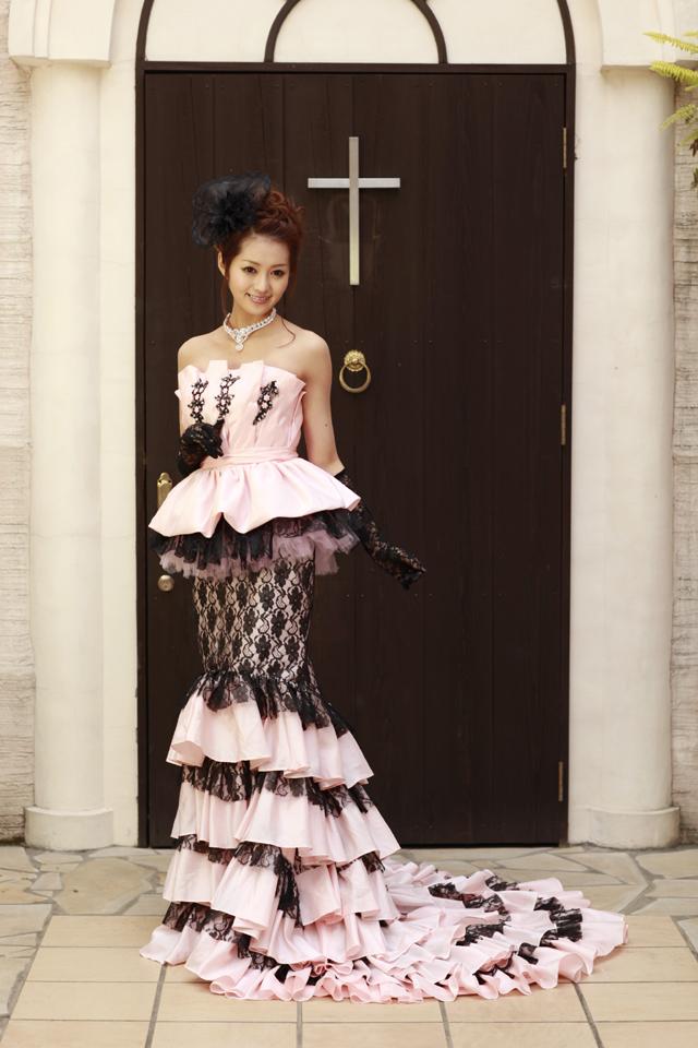 【翌日配送可能】カラードレス,ピンク,マーメードライン,5号,7号,9号,11号,13号,15号,17号,個性的なドレスでひと際輝くヒロインに★お色直し、二次会用としてもお勧めです。