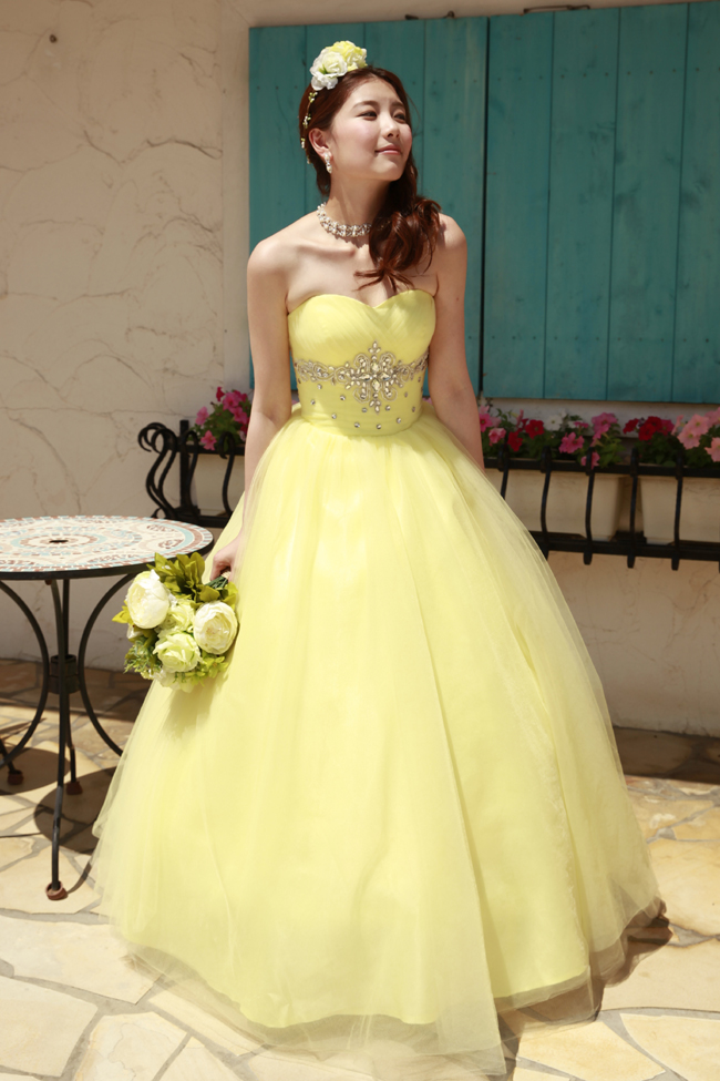 3d360cf15be70  翌日配送可能 カラードレス,パーティドレス,ウエディングドレス,イエロー,Aライン,販売,披露宴,演奏会,結婚式,二次会