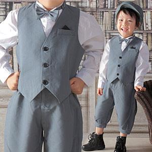 3cbc4342c632e 男の子フォーマル英国スーツキッズニッカポッカセット子供服フォーマルグレー入学式発表会結婚
