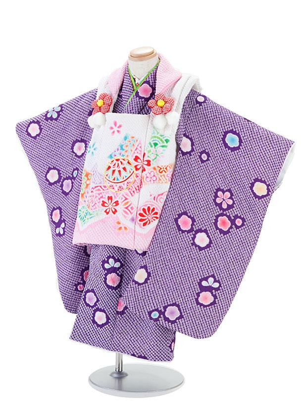 【レンタル】七五三レンタル 女の子 3歳着物フルセット 総しぼり・陽気な天使/紫色着物×白地ピンク模様被布セット 子供着物 貸衣装 ブランド