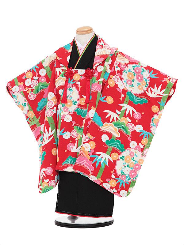 【レンタル】七五三レンタル 女の子 3歳着物フルセット黒色着物×赤色被布 松 被布セット 子供着物 貸衣装 3049