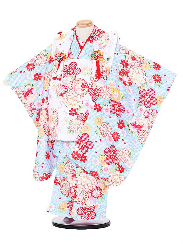 【レンタル】七五三レンタル 女の子 3歳着物フルセット水色着物×白色被布 花 被布セット 子供着物 貸衣装 3079