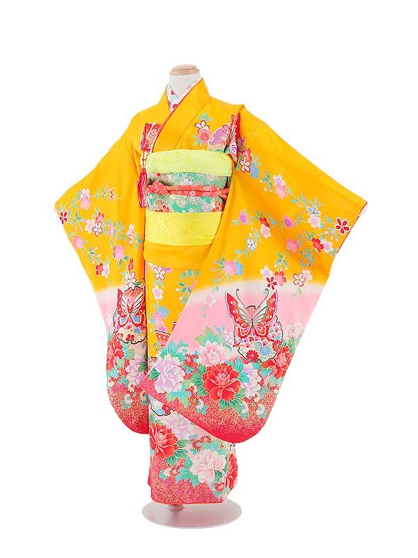 【レンタル】七五三レンタル 7歳着物 女の子 黄色・蝶と花柄 正絹 七五三着物 フルセット7才 貸衣装 子供着物
