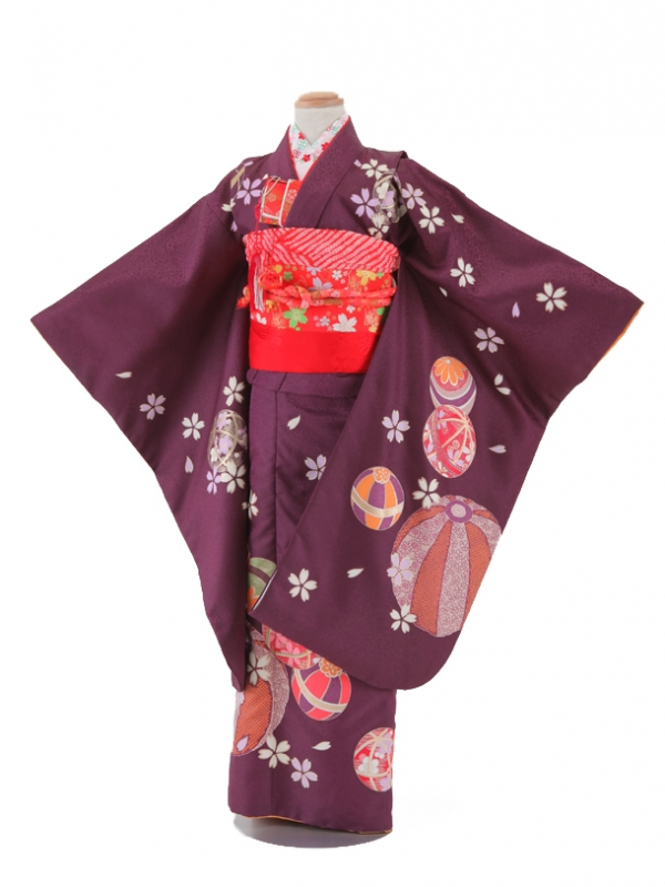 【レンタル】七五三レンタル 7歳着物 女の子 紫色・毬と花びら柄 七五三着物 フルセット7才 貸衣装 子供着物