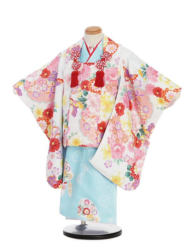 【レンタル】七五三レンタル 女の子 3歳着物フルセット しゃれっこ 白地被布×水色地着物/花柄被布セット 子供着物 貸衣装 ブランド 袖付き被布コート