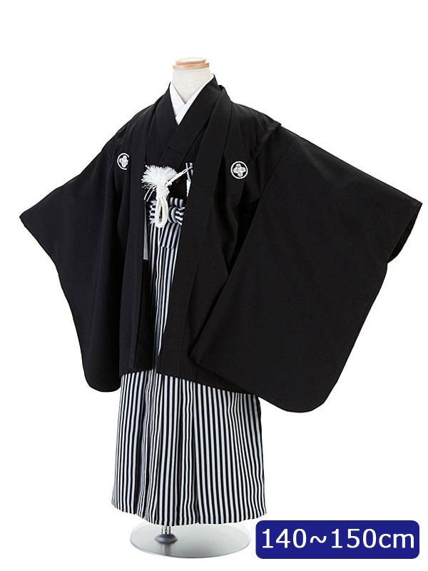 【レンタル】13歳前後 男児 黒紋付袴羽織セット140cm 150cm 12歳 卒業式 小学生 貸衣装 行灯型 ジュニア着物