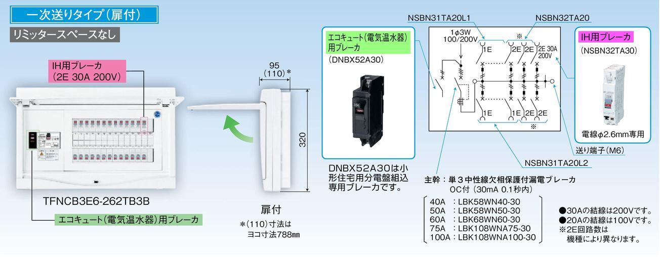 【東芝】小形住宅用分電盤N 扉付・機能付 全電化 75A TFNCB3E7-222TB3B