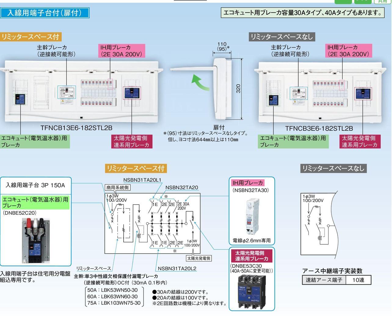 【東芝】小形住宅用分電盤N 扉付・機能付 全電化 50A TFNCB13E5-222STL2B