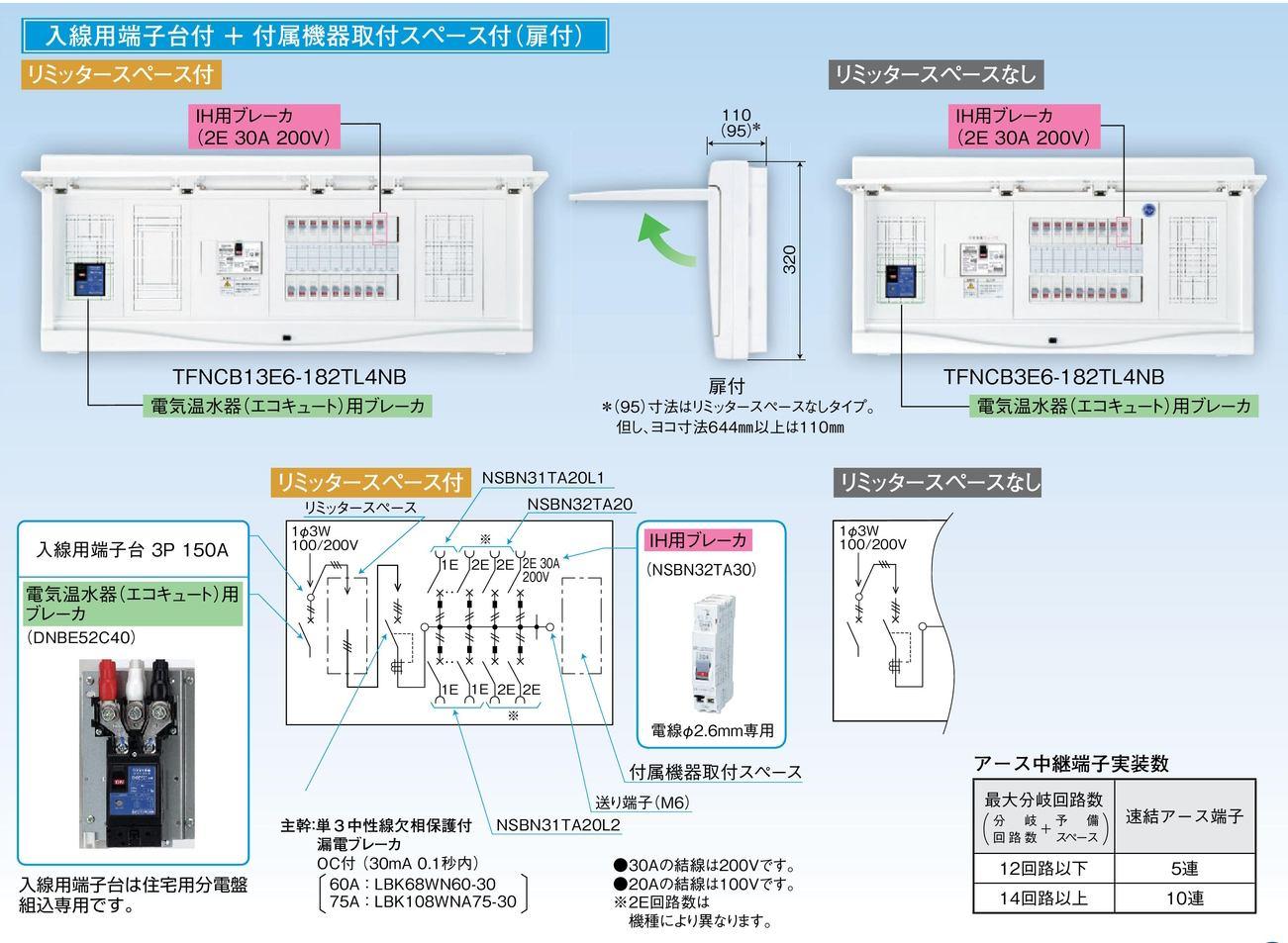 【東芝】小形住宅用分電盤N 扉付・機能付 全電化 60A TFNCB3E6-102TL4NB