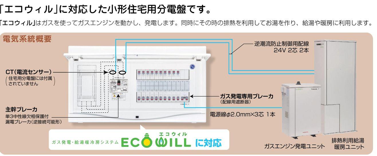 【東芝】小形住宅用分電盤N 扉付・機能付 ガス発電・給湯暖冷房システム用 TFNCB3E4-202GCA